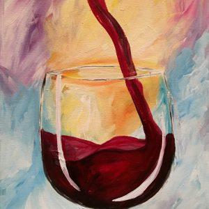 wine on canvas painting