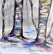 Birch Tree Painting, December 5th, 6-9