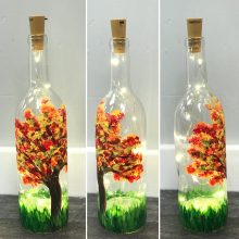Fall Painted Wine Bottle November 3rd